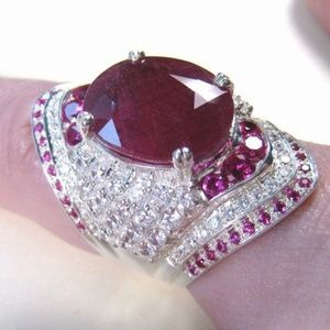 925 Silver Filled  Oval Cut Ruby Ring New